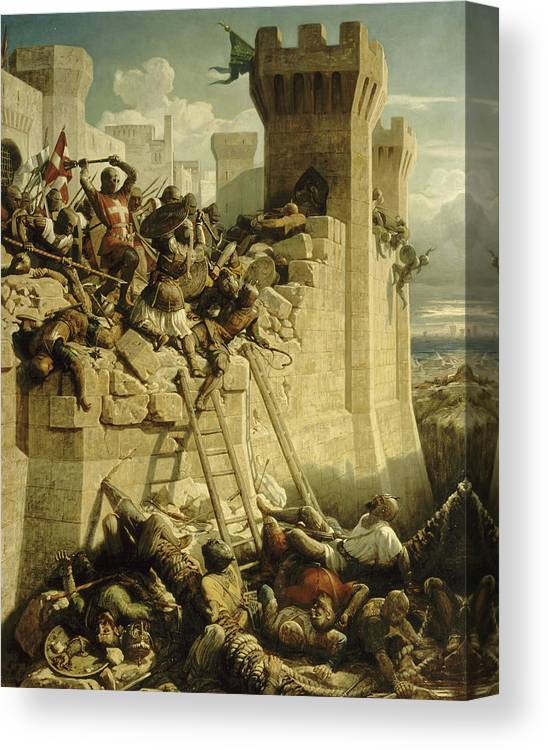 Papety Canvas Print featuring the painting Siege Of Acre, 1291 by Dominique Papety