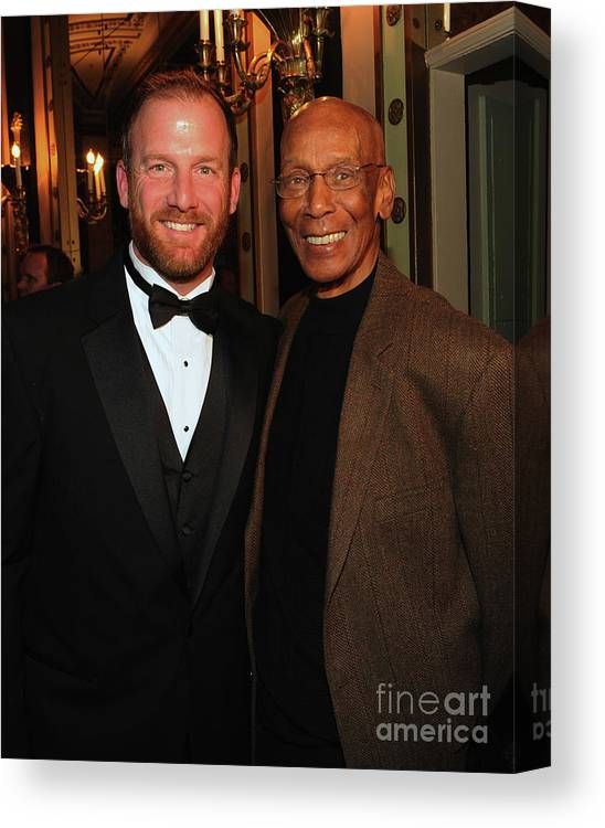 Ryan Dempster Canvas Print featuring the photograph Ryan Dempster And Ernie Banks by Rick Diamond