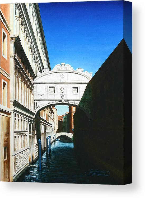 Bridge Of Sighs Canvas Print featuring the painting Bridge Of Sighs Venice Italy by Gary Hernandez