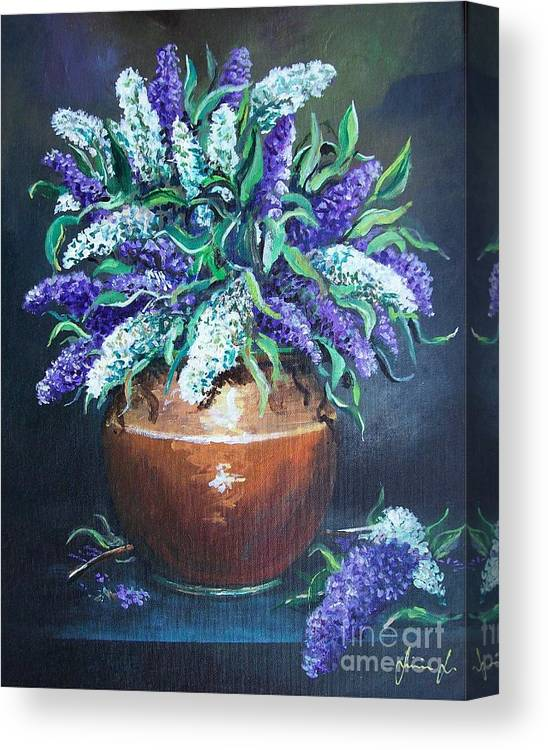 Original Painting Canvas Print featuring the painting Lilac by Sinisa Saratlic