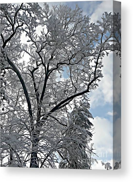Snow Canvas Print featuring the mixed media Southern Snow Tree by Tracy Ruckman