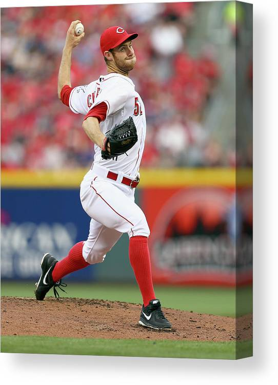 Great American Ball Park Canvas Print featuring the photograph Tony Cingrani by Andy Lyons