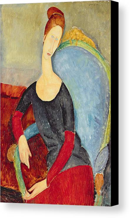 Amedeo Modigliani Canvas Print featuring the painting Mme Hebuterne In A Blue Chair by Celestial Images