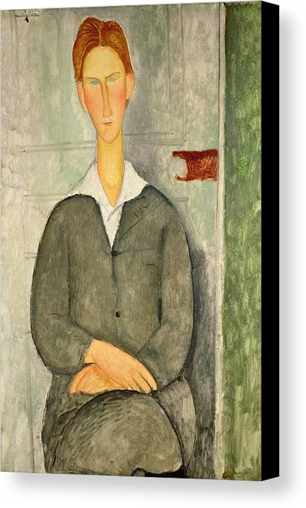 Amedeo Modigliani Canvas Print featuring the painting Young Boy With Red Hair by Celestial Images