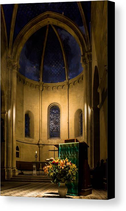 Collegiale De Neuchatel Canvas Print featuring the photograph Altar And Pulpit Of The Collegiale De Neuchatel by Charles Lupica