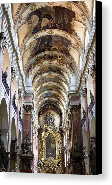 Colour Canvas Print featuring the photograph Czech Rep.. Prague. Church Of St Jacob by Everett
