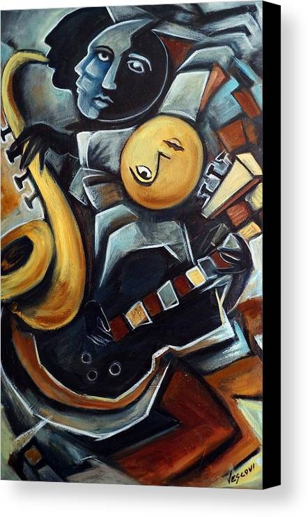 Cubism Canvas Print featuring the painting Indigo Blues by Valerie Vescovi