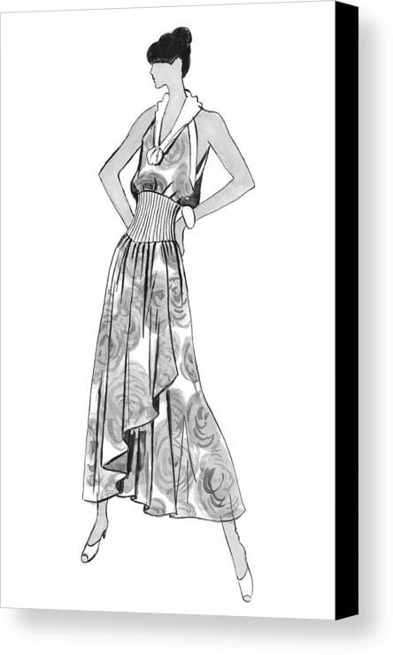 Fashion Illustration Canvas Print featuring the drawing It's Sarong It's Right by Sarah Parks