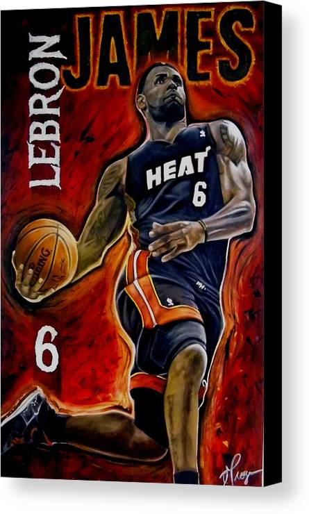 Lebron James Canvas Print featuring the painting Lebron James Oil Painting-original by Dan Troyer