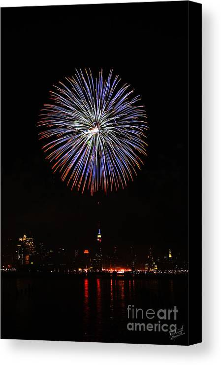 New York Skyline Fireworks Canvas Print featuring the photograph Fireworks Over The Empire State Building by Nishanth Gopinathan