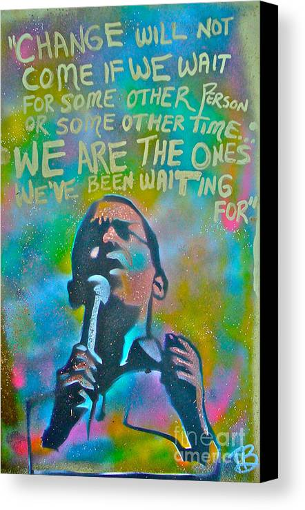Barack Obama Canvas Print featuring the painting Obama In Living Color by Tony B Conscious