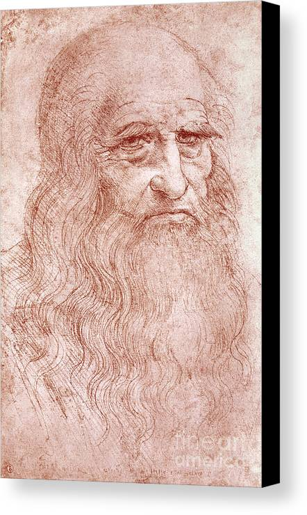 Old Canvas Print featuring the painting Portrait Of A Bearded Man by Leonardo da Vinci