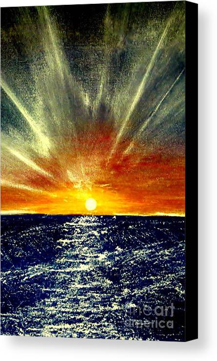 Sun Ray Canvas Print featuring the painting Sunrays by Tim Townsend