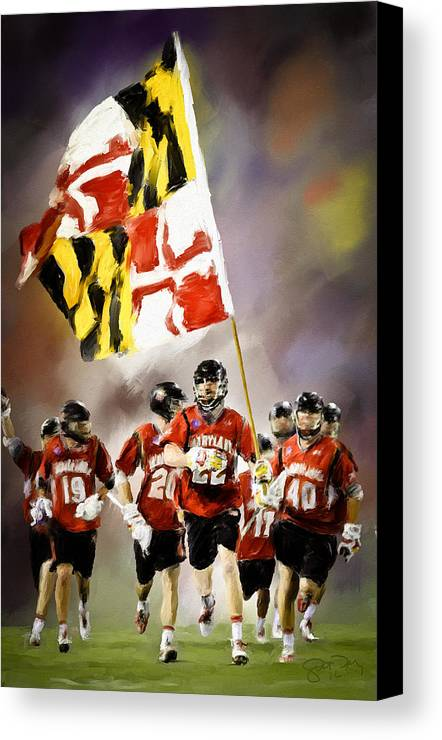 Lacrosse Canvas Print featuring the painting Team Maryland by Scott Melby