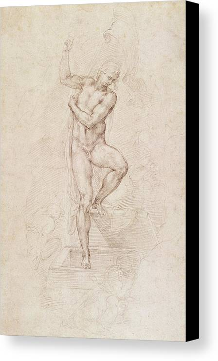 Drawing Canvas Print featuring the painting W53r The Risen Christ Study For The Fresco Of The Last Judgement In The Sistine Chapel Vatican by Michelangelo Buonarroti