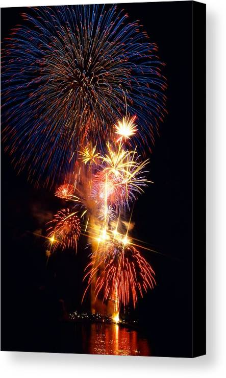 National Mall & Memorial Parks Canvas Print featuring the photograph Washington Monument Fireworks 3 by Stuart Litoff