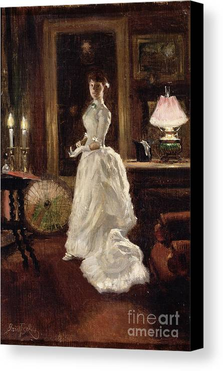 Interior Canvas Print featuring the painting Interior Scene With A Lady In A White Evening Dress by Paul Fischer