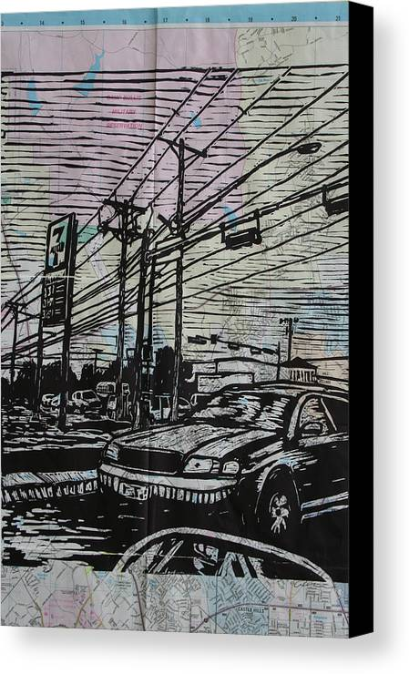 Lino Canvas Print featuring the drawing Burnet Road by William Cauthern