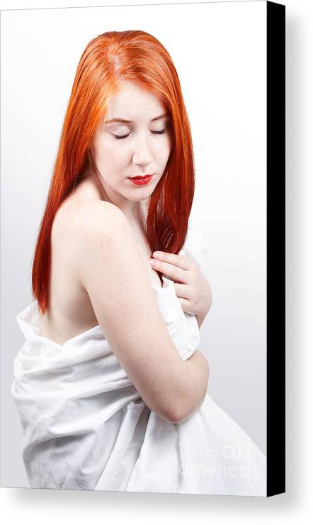 Red Head Canvas Print featuring the photograph Beautiful Redhead Studio Shot by Gabriela Insuratelu