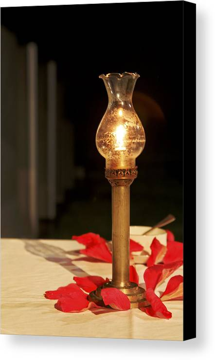 Interesting Canvas Print featuring the photograph Brass Candle Romance by Kantilal Patel