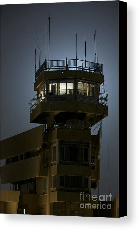 Night Canvas Print featuring the photograph Cob Speicher Control Tower by Terry Moore