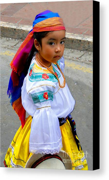 Girl Canvas Print featuring the photograph Cuenca Kids 210 by Al Bourassa
