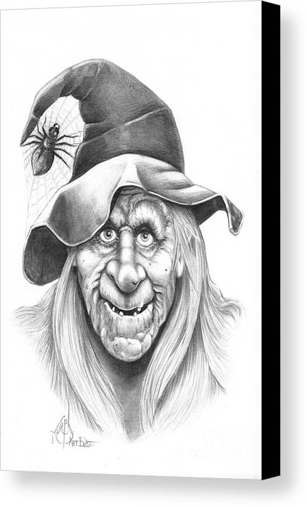 Witch Canvas Print featuring the drawing Halloween Weeotch by Murphy Elliott