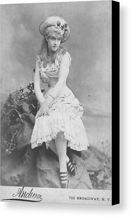 Canvas Print featuring the photograph Lillian Russell 1882 by Steve K