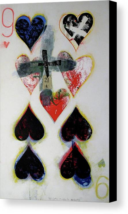 Acrylic Canvas Print featuring the painting Nine Of Hearts 21-52 by Cliff Spohn