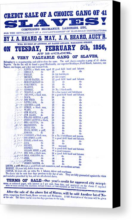 Abolition Canvas Print featuring the photograph Slave Auction Notice by Photo Researchers, Inc.