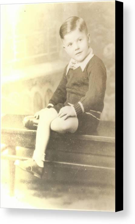 Digitized Canvas Print featuring the photograph Vintage Boy Crossed Leg by Alan Espasandin