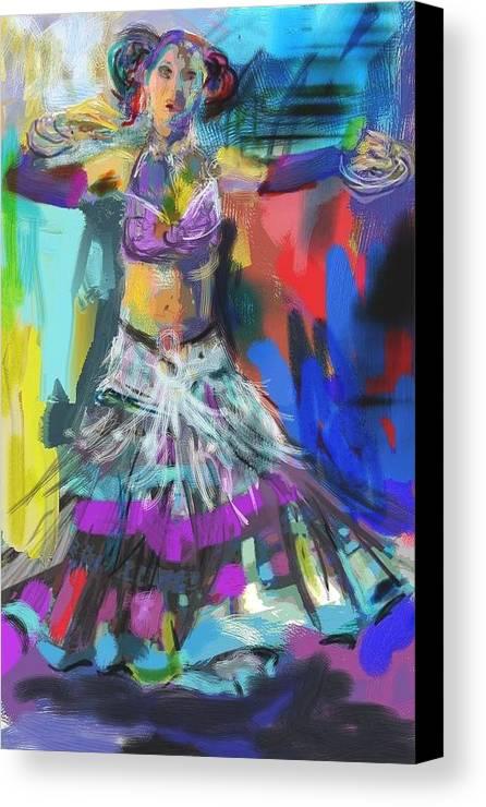 Dancer Canvas Print featuring the digital art Wild Belly Dancer by Barbara Kelley