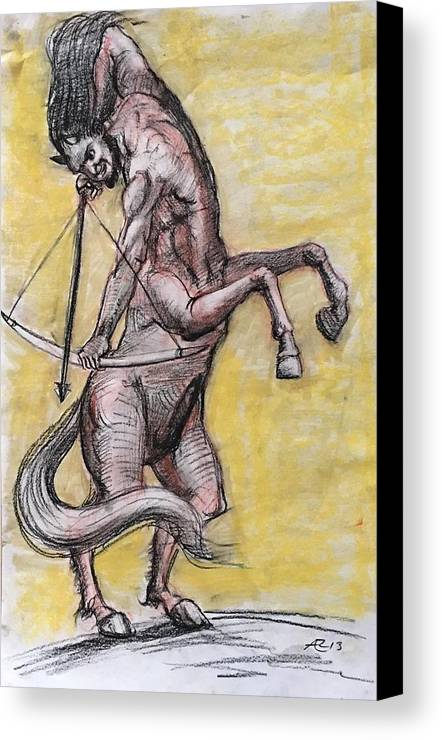 Canvas Print featuring the drawing Centaur by Alejandro Lopez-Tasso