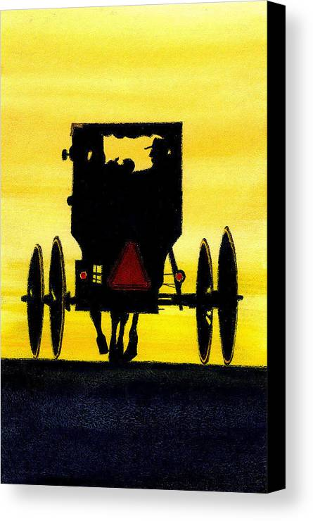 Amish Canvas Print featuring the painting Amish Buggy At Dusk by Michael Vigliotti