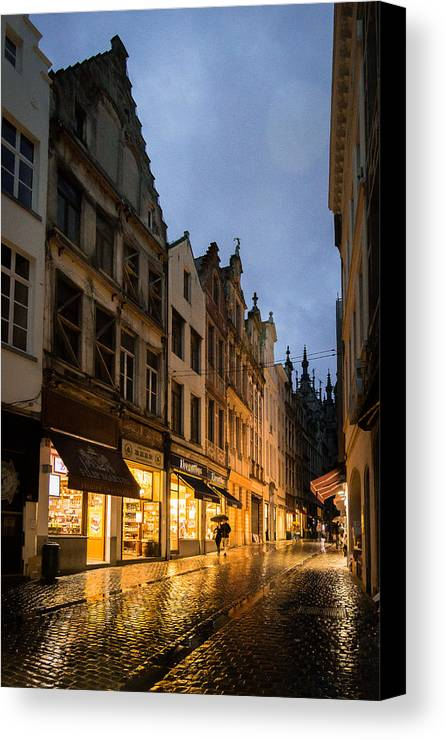 Rain Canvas Print featuring the photograph An Evening In Brussels by Julie Waldner