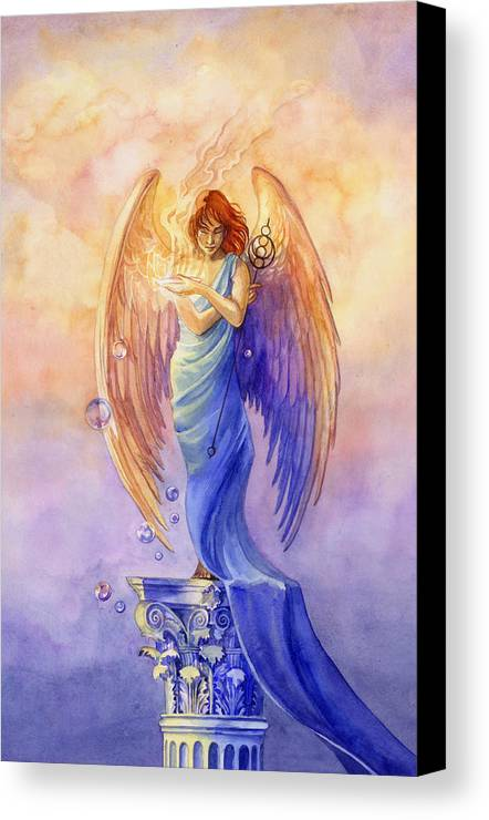 Angel Canvas Print featuring the painting Angel Of Truth And Illusion by Janet Chui