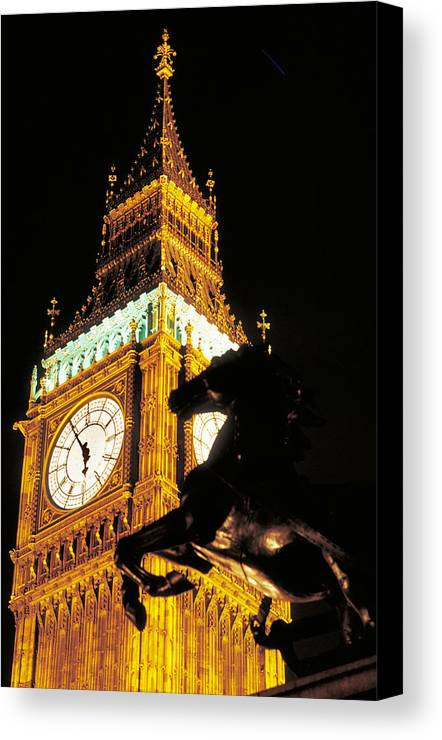 Clock Canvas Print featuring the photograph Big Ben In London by Carl Purcell