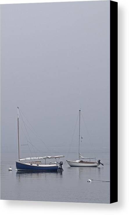 Boat Canvas Print featuring the photograph Catboat And Sloop - Nantucket Harbor by Henry Krauzyk