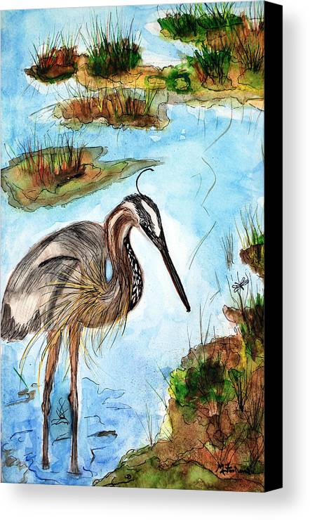 Birds Canvas Print featuring the painting Crane In Florida Swamp by Margaret Fortunato