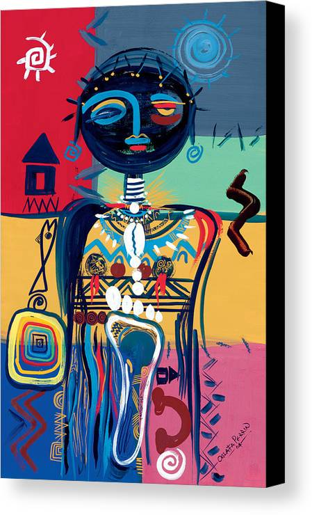 African Canvas Print featuring the painting Dreaming Of Africa by Oglafa Ebitari Perrin