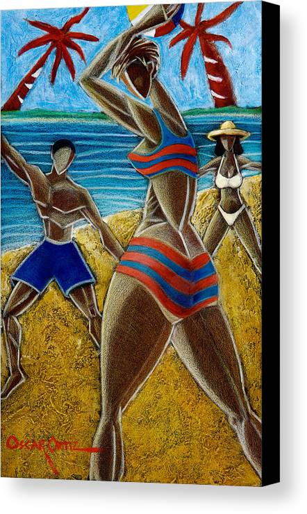 Beach Canvas Print featuring the painting En Luquillo Se Goza by Oscar Ortiz