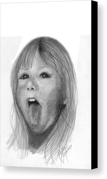 Portrait Canvas Print featuring the drawing Erika Jane by Tara Kearce