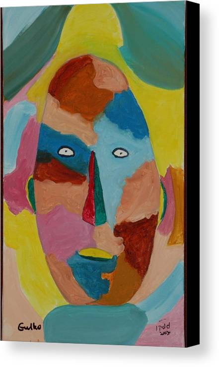 Mask Canvas Print featuring the painting Face In Limbo by Harris Gulko