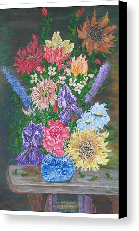 Floral Canvas Print featuring the painting Flemish Floral by Mikki Alhart