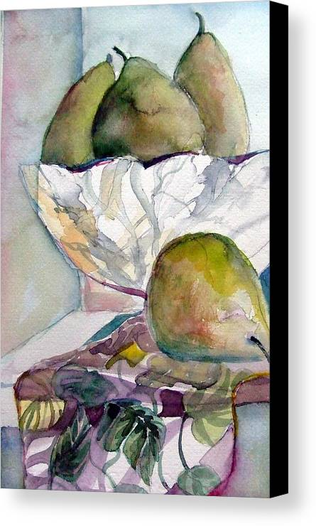 Pears Canvas Print featuring the painting Four Pears by Mindy Newman