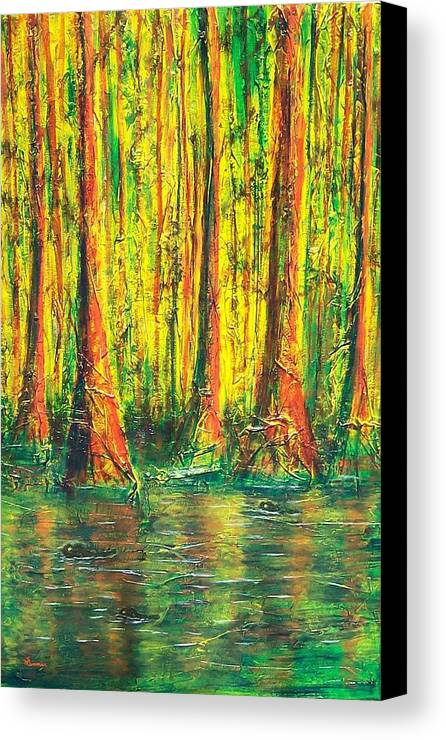Gator Canvas Print featuring the mixed media Gator Swamp by Sandy Hemmer