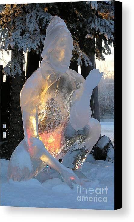 Ice Sculpture Canvas Print featuring the photograph Gold Miner by Louise Magno