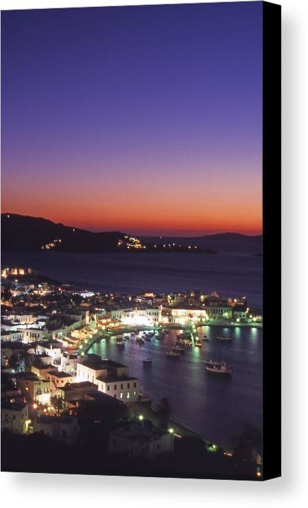 Greece Canvas Print featuring the photograph Greece Mykonos Harbor. Dusk by Steve Outram