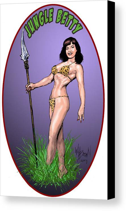 Betty Page Canvas Print featuring the digital art Jungle Betty T-shirt Design by Will Brown