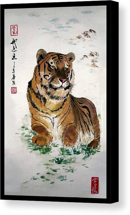 Tiger Canvas Print featuring the painting King On The Earth by Lilian Storino